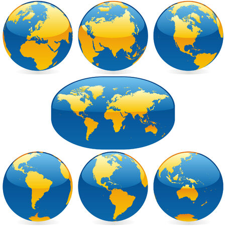 oceans: vector world globes and maps Illustration