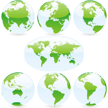 vector world globes and maps Illustration