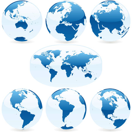 vector world globes and maps Stock Vector - 5016199