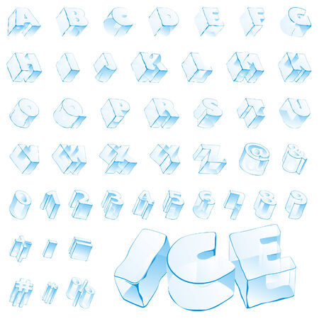 numerals: fully editable vector 3d ice alphabet - capitals and numerals