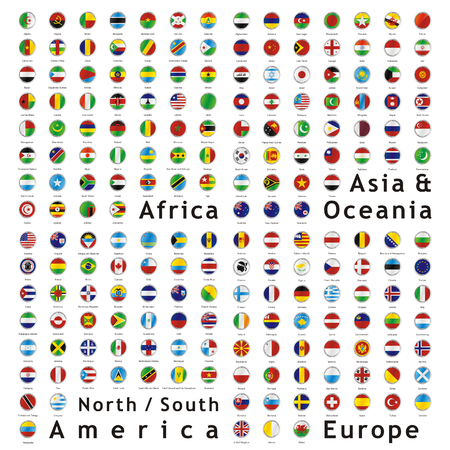 two hundred of fully editable vector world flags web buttons Stock Vector - 5389290
