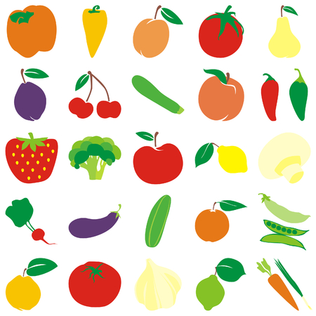 fully: fully editable vector fruits and vegetables