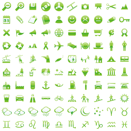 one hundred fully editable vector web icons with details ready to use  Illustration
