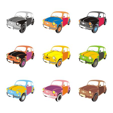 car showroom: vector totalmente editable aislado graciosos coches colores con detalles  Vectores