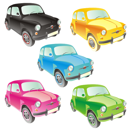 fully editable vector isolated funny colored cars with details  Illustration