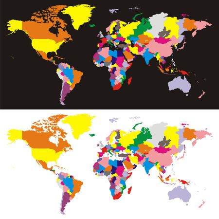 carte du monde entièrement modifiable vectoriel avec tous les pays dans des couleurs différentes