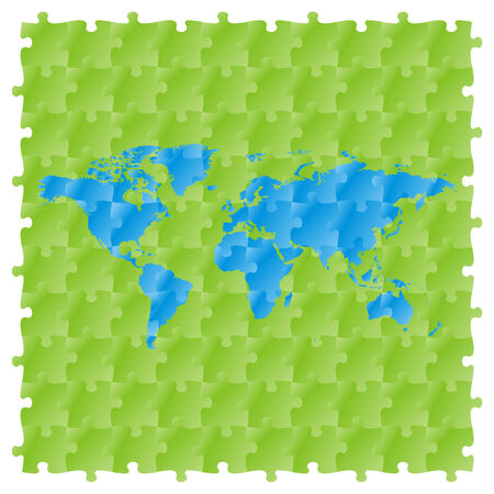 fully editable vector world map with puzzle pattern  Vector