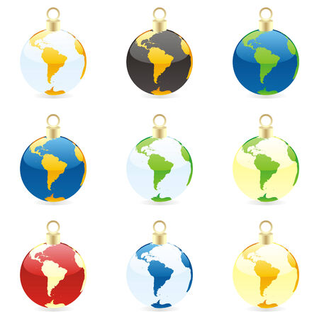 fully editable: fully editable colored christmas bulbs with world globe layout  Illustration