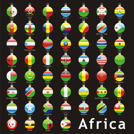 fully editable: fully editable isolated african flags in christmas bulbs shape