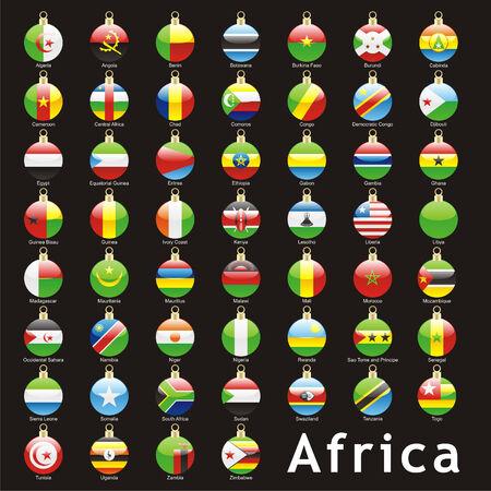fully editable isolated african flags in christmas bulbs shape  Vector