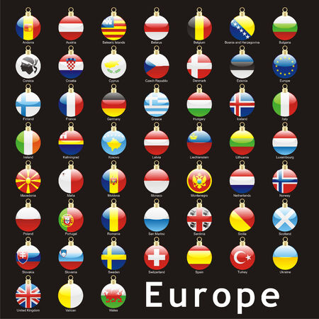 fully: fully editable isolated european flags in christmas bulbs shape