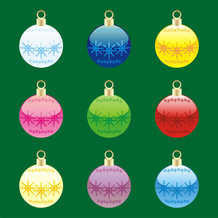 fully editable christmas bulbs with details ready to use  Vector