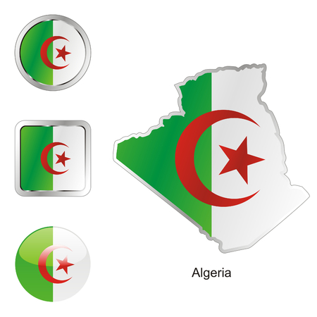Algeria: fully editable flag of algeria in map and web buttons shapes