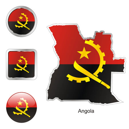 fully: fully editable flag of angola in map and web buttons shapes  Illustration