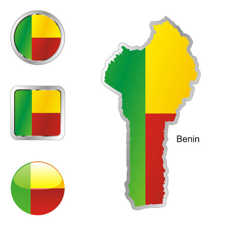 fully editable: fully editable flag of benin in map and web buttons shapes  Illustration