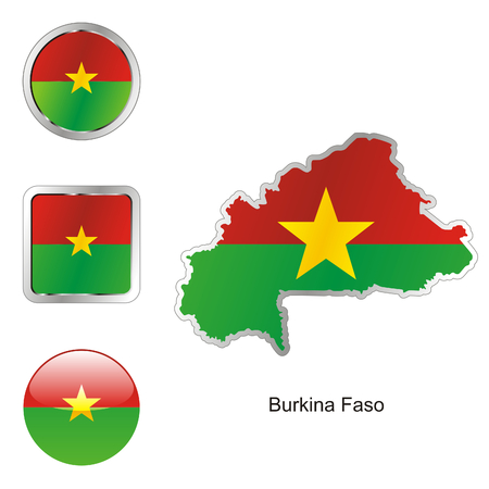 fully editable flag of burkina faso in map and web buttons shapes  Vector