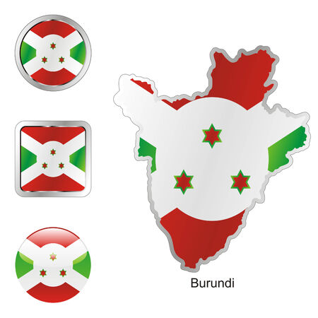 fully editable flag of burundi in map and web buttons shapes  Vector