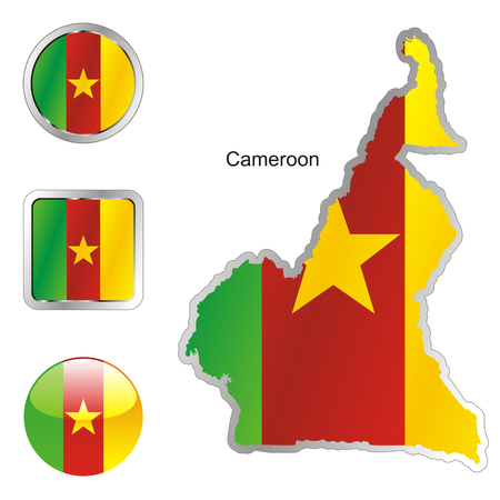 cameroon: fully editable flag of cameroon in map and web buttons shapes  Illustration
