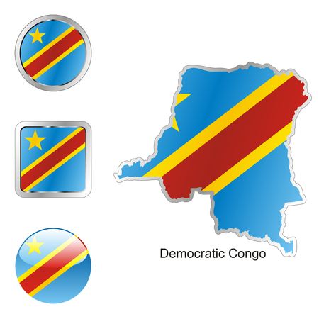 democratic: fully editable flag of democratic congo in map and web buttons shapes