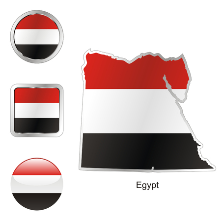 fully: fully editable flag of egypt in map and web buttons shapes