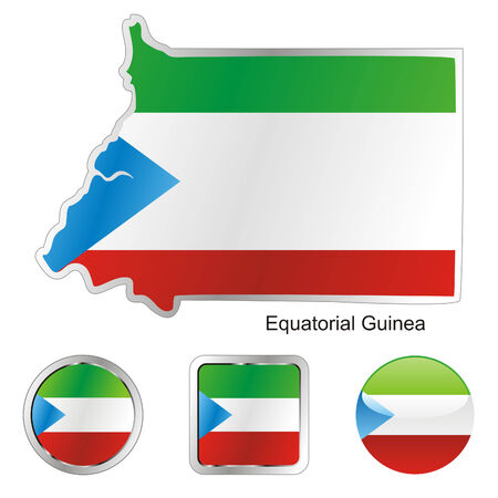 fully editable flag of equatorial guinea in map and web buttons shapes  Vector