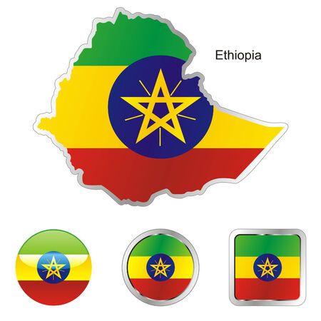fully editable flag of ethiopia in map and web buttons shapes  Vector