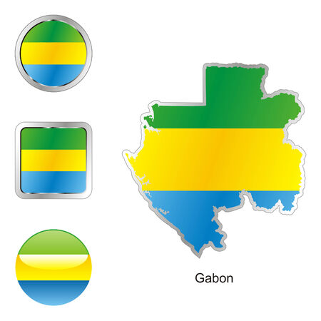 fully editable: fully editable flag of gabon in map and web buttons shapes
