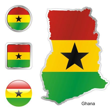 ghana: Drapeau enti�rement modifiable de ghana dans la carte et web boutons formes
