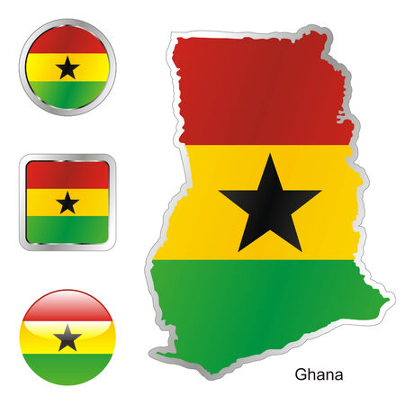 fully: fully editable flag of ghana in map and web buttons shapes  Illustration