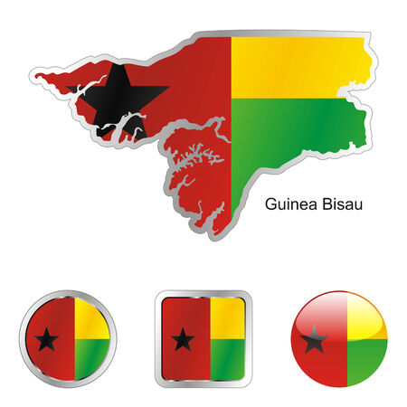 bissau: fully editable flag of guinea bissau in map and web buttons shapes