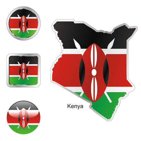 kenya: fully editable flag of kenya in map and web buttons shapes  Illustration