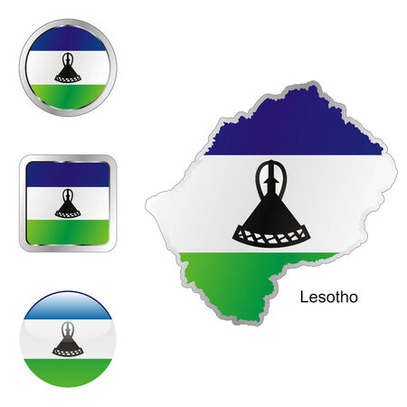 lesotho: fully editable flag of lesotho in map and web buttons shapes