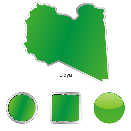 fully: fully editable flag of libya in map and web buttons shapes  Illustration