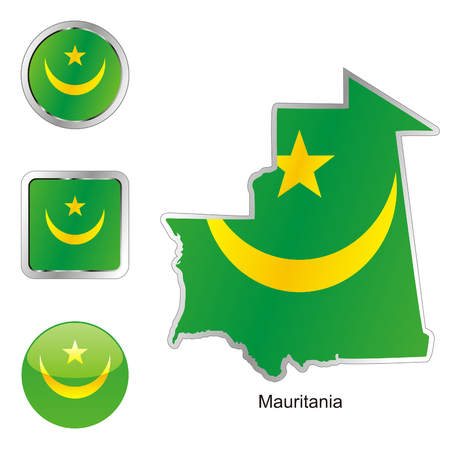 fully editable: fully editable flag of mauritania in map and web buttons shapes  Illustration