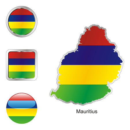mauritius: volledig bewerkbaar vlag van mauritius in kaart en web knoppen vormen