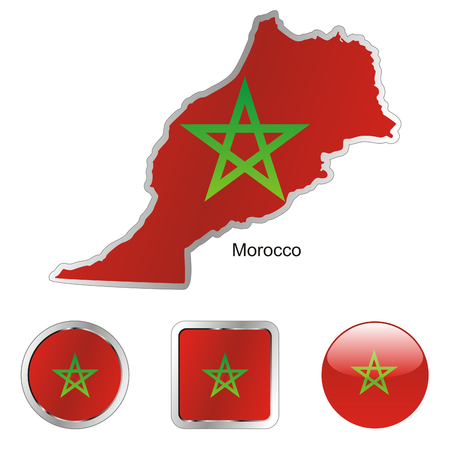 fully: fully editable flag of morocco in map and web buttons shapes