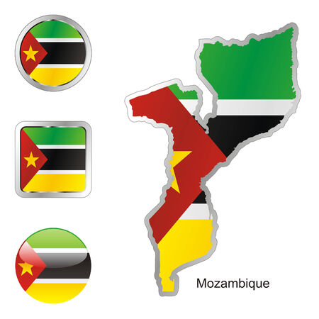 mozambique: fully editable flag of mozambique in map and web buttons shapes  Illustration