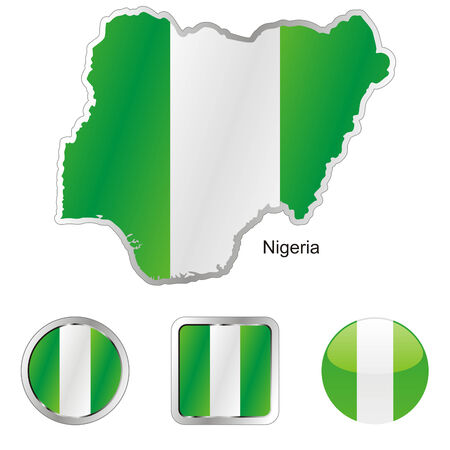 fully: fully editable flag of nigeria in map and web buttons shapes