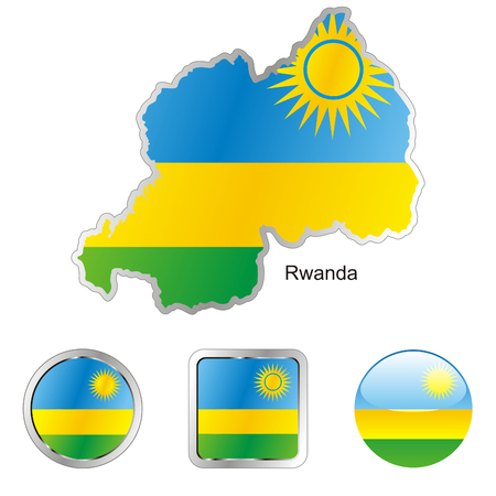 fully editable flag of rwanda in map and web buttons shapes  Illustration