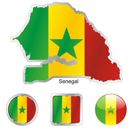 senegal: fully editable flag of senegal in map and web buttons shapes  Illustration