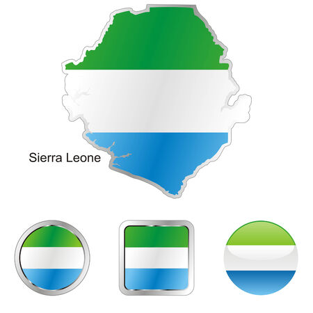 fully editable flag of sierra leone in map and web buttons shapes  Stock Vector - 6255927