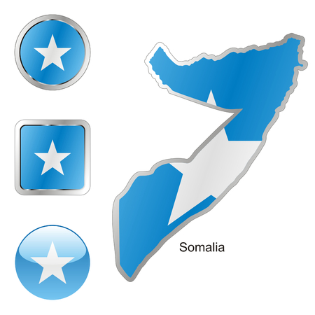 pennants: fully editable flag of somalia in map and web buttons shapes