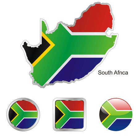 fully: fully editable flag of south africa in map and web buttons shapes