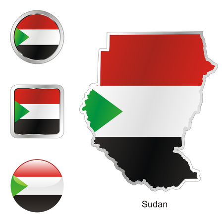 fully: fully editable flag of sudan in map and web buttons shapes