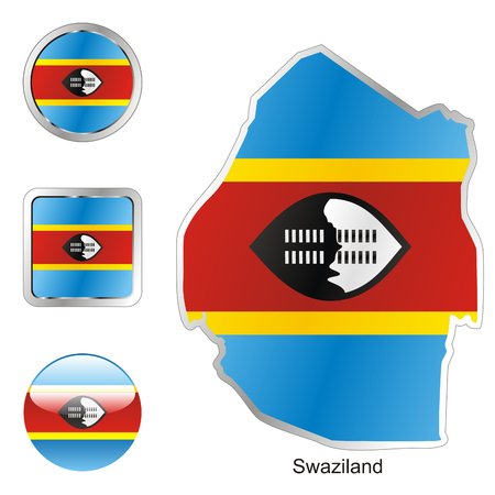 fully: fully editable flag of swaziland in map and web buttons shapes