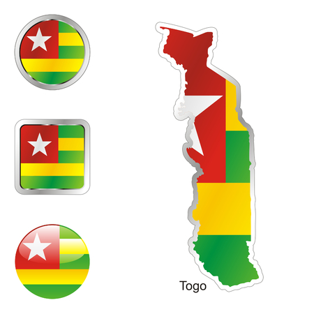 togo: fully editable flag of togo in map and web buttons shapes