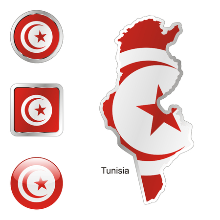 tunisia: fully editable flag of tunisia in map and web buttons shapes  Illustration