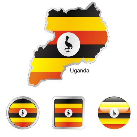 volledig bewerkbaar vlag van uganda in kaart en web knoppen vormen
