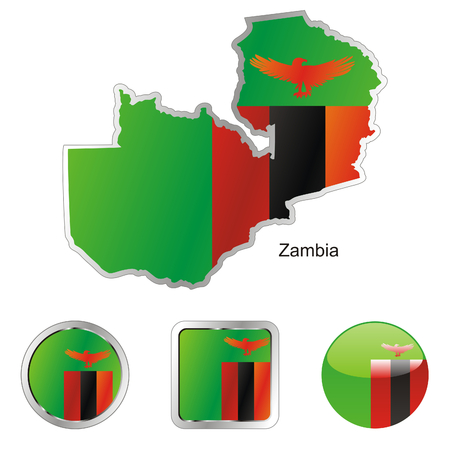 zambia: fully editable flag of zambia in map and web buttons shapes