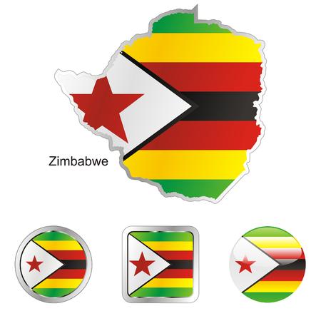 zimbabwe: fully editable flag of zimbabwe in map and web buttons shapes  Illustration